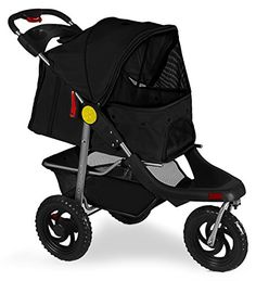 Dog Strollers - OxGord Deluxe 3Wheels Foldable Pet Stroller  Black >>> Check out the image by visiting the link. (This is an Amazon affiliate link)