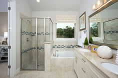 Gehan Homes Master Bathroom - Tan, Subway tile backsplash, brushed nickel hardware, granite countertops. San Antonio, Texas   Bella Vista - Laurel #Gehanhomes