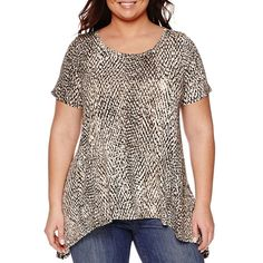 a.n.a® Short-Sleeve High-Low Swing T-Shirt - Plus - JCPenney
