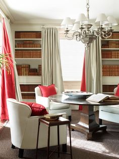 An example of Nancy Braithwaite's well-researched use of color: Red accents in silk and linen work like dashes of pepper to invigorate the design.  Photo by © Simon Upton/Rizzoli New York