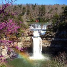 Desoto Falls, Alabama.  Beautiful Spring photo.  ....And, do you see the rainbow?  (Taken from the Mentone Inn)