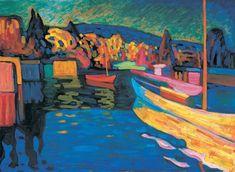 Wassily Kandinsky, Herfstlandschap met boten, 1908, olieverf op karton, 71 x 97 cm, Merzbacher Kunststiftung
