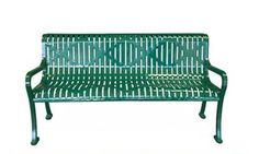 This classic diamond pattern bench is ideal for parks, schools and many other public outdoor areas.  This heavy-duty, weather resistant bench is even graffiti proof.  Be sure to check out the cordinating trash receptacle.� Diamond pattern, 11-Gauge Steel Construction� Cast Iron Legs