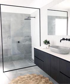 Bathroom inspiration by . Loving the black framed shower screen, contrast of tiles and concrete basin. Bathroom inspiration by . Loving the black framed shower screen, contrast of tiles and concrete basin. Grey Bathroom Tiles, Grey Bathrooms, Modern Bathroom Design, Bathroom Interior Design, Bathroom Flooring, Bathroom Faucets, Small Bathroom, Master Bathroom, Bathroom Black