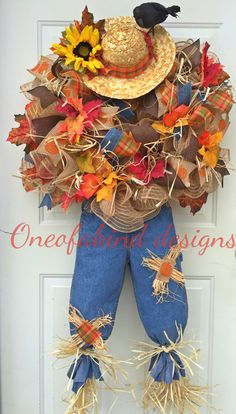Fall scarecrow deco mesh wreath
