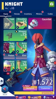 Knighthood is a mobile game with a great eye for UX and design. This is a great screen that shows off your equipment and character.