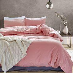 924d0cbf83 Queen Duvet Cover,100% Washed Cotton Duvet Cover Set 3 Piece Solid Pink  Color