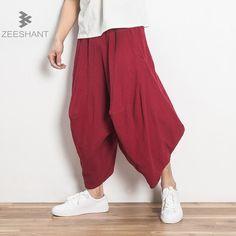 3f5e352a1 ZEESHANT Loose Wide Japanese Pants Men Summer Plus Elastic Waist Linen  Trousers Casual Cross Pants in Men s Cross Pants XXXXL-in Cross Pants from  Men s ...