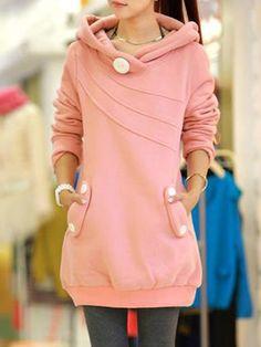 Algodón dulce y elegante con los botones con capucha
