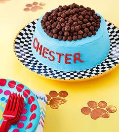 Perfect treat for the kids at your pet party! Cover a store-bought angel food cake with frosting, adding the name of the birthday dog or cat. Fill the center with scoops of ice cream and top the cake with cocoa-flavored cereal balls (leave about an inch of space all around for the bowl's rim).