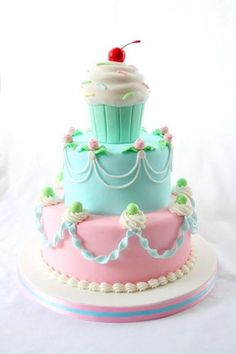 Adorable cupcake cake! The colors are lovely.