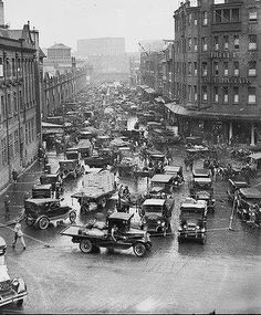 Australia. Traffic jam in Hay St., Sydney, 1930s