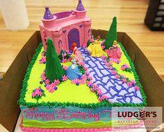 Princesses parading toward a pink palace!