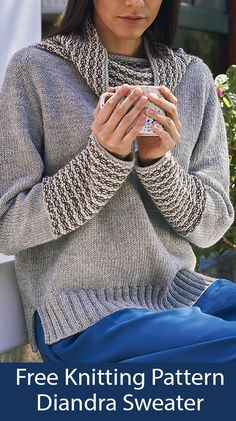 Feb 2020 - Free Knitting Pattern for Diandra Sweater - Pullover with striped cowl collar and sleeve cuffs knit in a 6 row repeat 3 color broken rib stripe. Worked seamlessly in the round from the top down. Sizes Bust – Crochet Pattern Free, Sweater Knitting Patterns, Knit Patterns, Free Knitting, Knit Crochet, Baby Cardigan, How To Start Knitting, Pulls, Knitting Projects