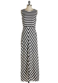 Veni Vidi Vivacity Dress. You came to the event, saw dear friends, and completely conquered cocktail hour, clad in this brilliant black-and-white striped maxi!  #modcloth