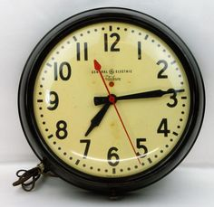 "Vintage 14"" General Electric Telechron Industrial Wall Clock School Gas Station  #GE #clocks #mcm"