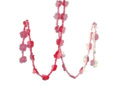 Crochet lariat scarf, Pink flowers, fashion scarf, necklace,   spring scarf. $20.00, via Etsy.