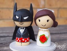 Batman in boxer shorts! Cute superhero wedding cake topper by GenefyPlayground