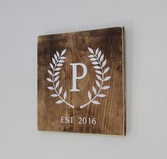 Wood Signs Rustic Wedding Gift Names Monogram Family by DeanPenn