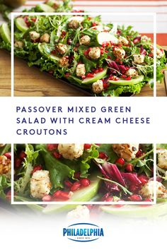 Kosher for Passover doesn't mean you can't get creative! Try this recipe featuring creamy, delicious cream cheese croutons. Salad Recipes, Diet Recipes, Vegan Recipes, Cooking Recipes, Passover Recipes, Jewish Recipes, Passover Meal, Soup And Salad, Pasta Salad