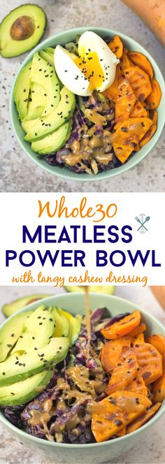 A nutritious power bowl that's compliant, quick to make, and meatless! Sautéed cabbage, sweet potatoes, and avocados drizzled in a tangy cashew butter dressing. Add an egg on top for the perfe (Sauteed Cabbage Recipes) Whole 30 Vegetarian, Paleo Whole 30, Vegetarian Paleo, Whole 30 Diet, Whole Food Diet, Whole Food Recipes, Dinner Recipes, Healthy Recipes, Meatless Whole 30 Recipes