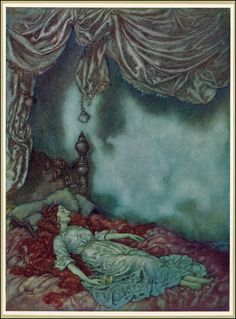 the sleeper | edmund dulac  |    Above the closed and fringed lid  'Neath which thy slumb'ring soul lies hid,  That, o'er the floor and down the wall,  Like ghosts the shadows rise and fall!  Oh, lady dear, hast thou no fear?  Why and what art thou dreaming here?  Sure thou art come O'er far-off seas,  A wonder to these garden trees!  Strange is thy pallor! strange thy dress,  Strange, above all, thy length of tress,  And this all solemn silentness!    -poe