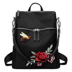 Multipurpose Flower Embroidery Bee Backpack