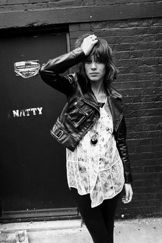 Alexa Chung   leather   biker jacket   fashion   rock n roll   hot   rad   black & white   grunge
