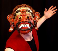 Rawana Balinese Character Mask, Modeled, View 2