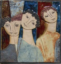 Modern Portraits, Tile Art, Art Paintings, Mixed Media Art, Sculpting, Abstract Art, Projects To Try, Arts And Crafts, Faces