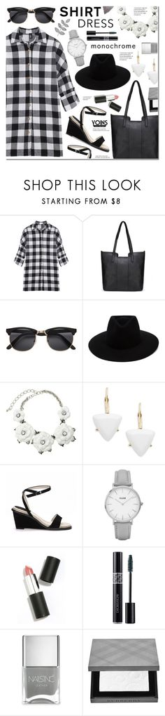 """""""It's a Shirt! It's a Dress! It's a Shirtdress! Black and White Check Shirt Dress-Yoins 9"""" by anyasdesigns ❤ liked on Polyvore featuring rag & bone, Kenneth Jay Lane, ABS by Allen Schwartz, Topshop, Sigma Beauty, Christian Dior, Nails Inc., Burberry and Tiffany & Co."""