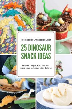 25 Delicious Dinosaur Snack Ideas for Kids of All Ages Create one or more of these dinosaur snack ideas for your dinosaur theme. During your dinosaur studies or a dinosaur party, your kids will love these ideas. Dinosaur Themed Food, Dinosaur Theme Preschool, Dinosaur Activities, Dinosaur Crafts, Preschool Activities, Birthday Party Snacks, Dinosaur Birthday Party, 5th Birthday, Elmo Party