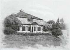$70 Custom House Drawing, Graphite Drawing, Landscape, Housewarming Gift, Home, Special Gift, Birthday Gift, House Drawing, Family Gift