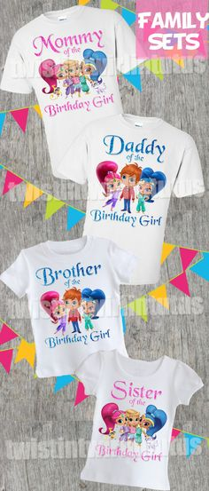 shimmer and shine family birthday shirts