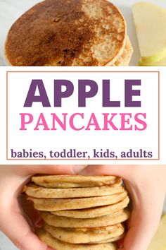 Easy Apple Pancakes for Baby-led Weaning. #apples #pancakes #babyledweaning #applepancakes #kidsfood