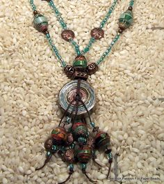 Jewelry Paper Bead Necklace  Irish Waxed by PassionForPaperBeads
