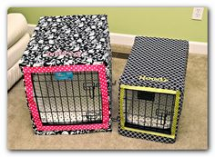 Crate Covers...great way to make the dog crate a a bit more 'stylish'