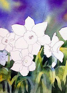 Ann's Watercolour Studio: Negative painting with daffodil leaves Watercolor Negative Painting, Watercolor Flowers, Painting & Drawing, Watercolor Paintings, Watercolors, Watercolour Tutorials, Watercolor Techniques, Watercolor Tips, Guache