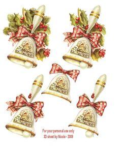 Christmas Sheets, 3d Christmas, Christmas Pictures, Vintage Christmas, Christmas Decoupage, Painted Christmas Ornaments, 3d Cards, Christmas Cards, Cardboard Crafts