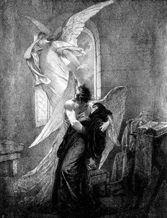 """«"""" Demon """"poem by Mikhail Lermontov. ~Mihály Zichy (Hungarian painter, -It's Mine Angel Drawing, Ange Demon, Angels And Demons, Black And White Illustration, Classical Art, Angel Art, Renaissance Art, Pencil Illustration, Aesthetic Art"""
