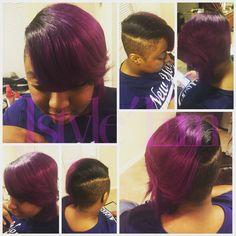 Purple hair  Short cut  Shaved sides   Instagram: jstyle_em Facebook: Jstyle'Em