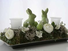 Oster Deko, Gesteck, Raumschmuck Ostern Hase grün