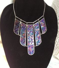Aqua, Purple & Copper Stained Glass Bib Necklace by Charles Barnes from Rainy Wish Studios