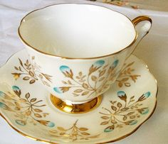 Vintage Queen Anne teacup  white and gold  china by NewtoUVintage