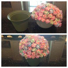 Dum dum flower= styrofoam ball, dumdums, flower pot