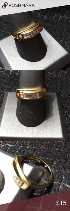 Lia Sophia Ring size 10 Shiny gold tone band with baguette cut crystals along the top from Lia Sophia.  Very classic style!  Size 10 Lia Sophia Jewelry Rings