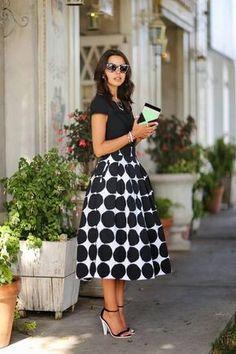 Banana Republic Black And White Mega Dot Maxi Skirt