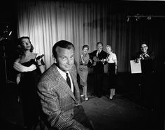 The Tonight Show with Jack Parr: Season 1's (l-r) Tedi Thurman, host Jack Paar, Fran Warren, Johnny Johnson, Mary Mayo, Jose Melis