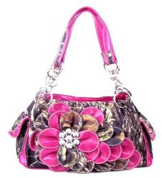 Western Pink Camouflage Flower Rhinestone Handbag  #HBM