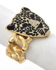 Golden Leopard Gold Statement Bracelet-$19-Find hot fashion jewellery and statement jewlry at Strike Envy. #jewellery #jewlry